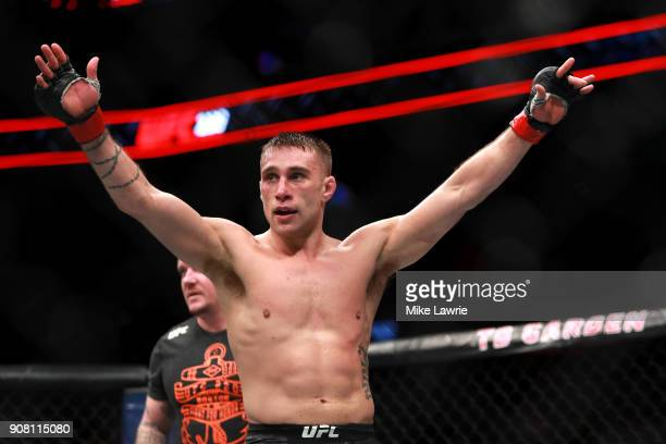 Kyle Bochniak reacts after the third round against Brandon Davis in their Featherweight fight during UFC 220 at TD Garden on January 20 2018 in...