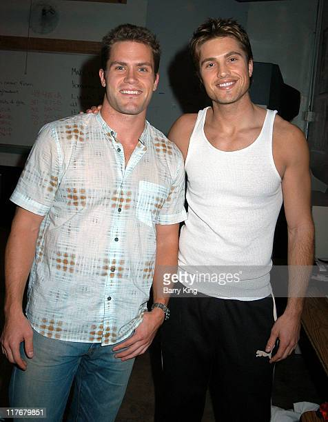 Kyle Brandt and Eric Winter during Hollywood Knights Charity Basketball Game - Burbank at Burbank High School in Burbank, California, United States.
