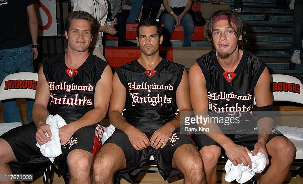 Kyle Brandt Jesse Metcalfe and Jack Krizmanich during Hollywood Knights Basketball Game April 7 2004 at Burroughs High School in Burbank California...
