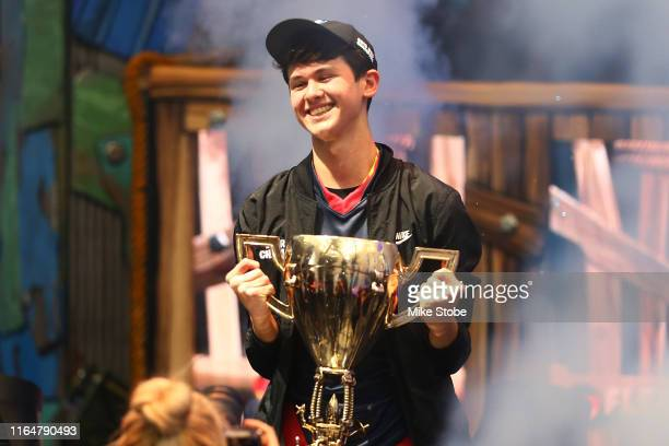 "Kyle ""Bugha"" Giersdorf celebrates after winning the Fortnite World Cup solo final at Arthur Ashe Stadium on July 28 2019 in New York City"