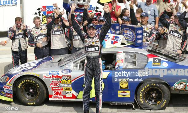 Kyle Busch and his No5 Lowes Chevrolet Monte Carlo celebrates his victory in the Carquest Auto Parts 300 at Lowe's Motor Speedway in Concord North...