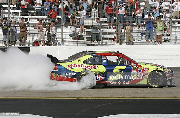 Kyle Busch celebrates his victory in the NASCAR NEXTEL Cup Series Food City 500 Sunday March 25 at Bristol Motor Speedway in Bristol Tennessee