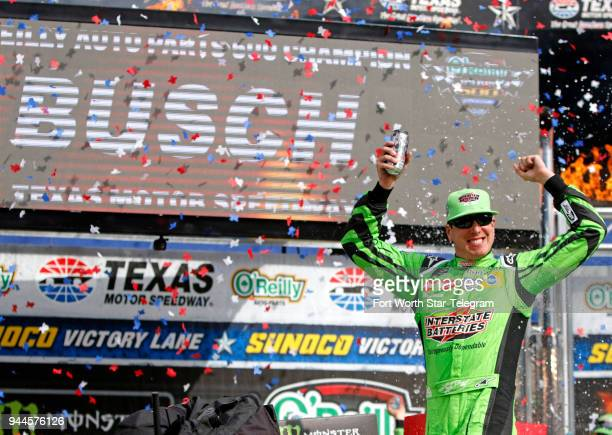 Kyle Busch celebrates his win at the O'Reilly Auto Parts 500 at Texas Motor Speedway on Sunday April 8 2018 in Fort Worth Texas