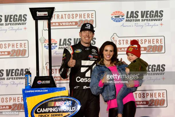Kyle Busch celebrates with his wife Samantha his son and team in Victory Lane after winning the Stratosphere 200 NASCAR Camping World Truck Series...