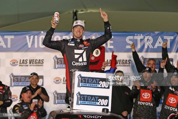 Kyle Busch, driver of the Cessna Toyota, celebrates in Victory Lane after winning the the NASCAR Gander RV & Outdoors Truck Series Strat 200 at Las...