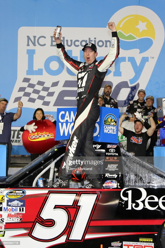 Kyle Busch, driver of the #51 Cessna Toyota, celebrates in Victory Lane after winning the Camping World Truck Series North Carolina Education Lottery 200 at Charlotte Motor Speedway on May 19, 2017 in Charlotte, North Carolina.