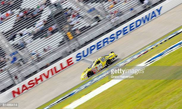 Kyle Busch driver of the Dollar General Toyota qualifies for the NASCAR Nationwide Series Federated Auto Parts 300 presented by Dollar General at...