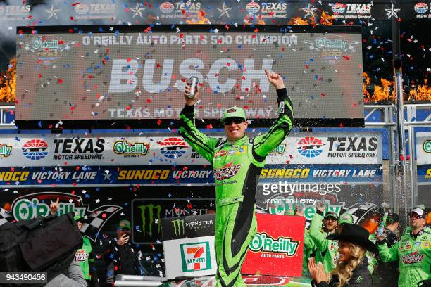 Kyle Busch driver of the Interstate Batteries Toyota celebrates in Victory Lane after winning the Monster Energy NASCAR Cup Series O'Reilly Auto...