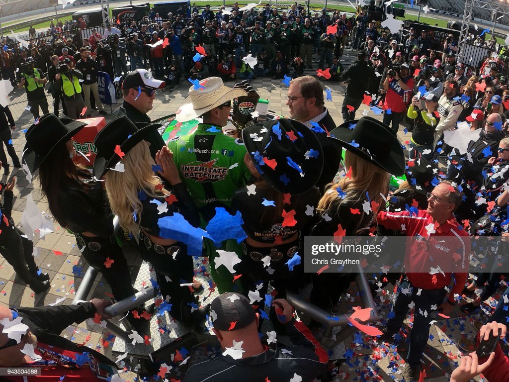 Kyle Busch, driver of the #18 Interstate Batteries Toyota, celebrates in Victory Lane after winning the Monster Energy NASCAR Cup Series O'Reilly Auto Parts 500 at Texas Motor Speedway on April 8, 2018 in Fort Worth, Texas.