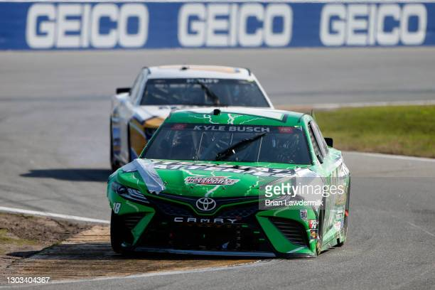 Kyle Busch, driver of the Interstate Batteries Toyota, drives during the NASCAR Cup Series O'Reilly Auto Parts 253 at Daytona International Speedway...