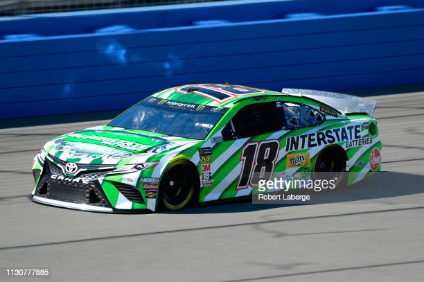 Kyle Busch driver of the Interstate Batteries Toyota practices for the Monster Energy NASCAR Cup Series Auto Club 400 at Auto Club Speedway on March...