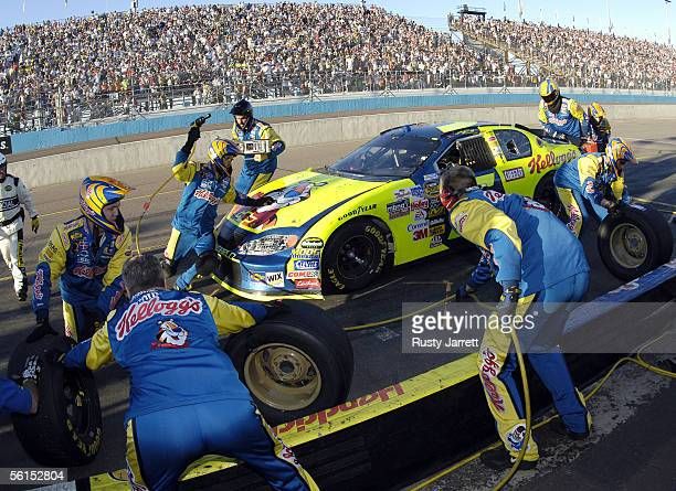 Kyle Busch driver of the Kellogg's Chevrolet pits during the NASCAR Nextel Cup Series Checker Auto Parts 500 on November 13 2005 at the Phoenix...