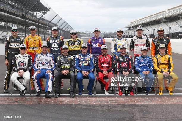 Kyle Busch driver of the MM's Caramel Toyota Aric Almirola driver of the Smithfield Ford Ryan Blaney driver of the BODYARMOR Ford Brad Keselowski...