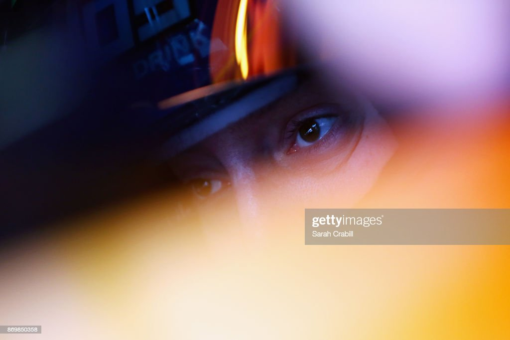 Kyle Busch, driver of the #18 M&M's Caramel Toyota, sits in his car during practice for the Monster Energy NASCAR Cup Series AAA Texas 500 at Texas Motor Speedway on November 3, 2017 in Fort Worth, Texas.