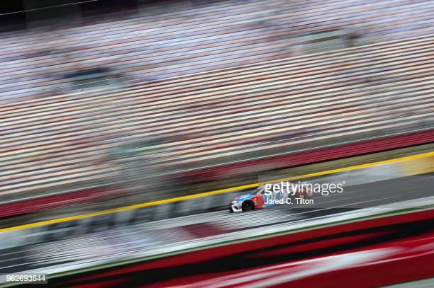 Kyle Busch driver of the MM's Red White Blue Toyota practices for the Monster Energy NASCAR Cup Series CocaCola 600 at Charlotte Motor Speedway on...