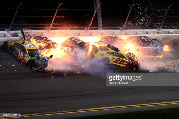 Kyle Busch, driver of the M&M's Toyota, Brad Keselowski, driver of the Discount Tire Ford, Austin Cindric, driver of the Verizon 5G Ford, Bubba...