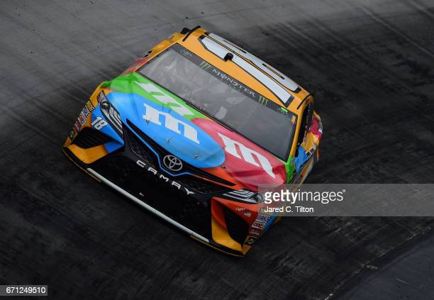 Kyle Busch driver of the MM's Toyota drives during practice for the Monster Energy NASCAR Cup Series Food City 500 at Bristol Motor Speedway on April...