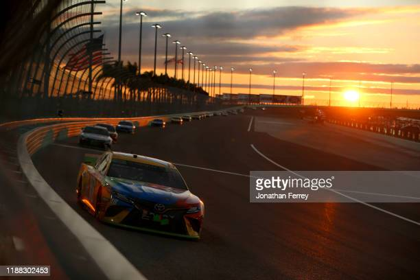 Kyle Busch driver of the MM's Toyota drives during the Monster Energy NASCAR Cup Series Ford EcoBoost 400 at Homestead Speedway on November 17 2019...