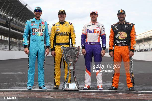 Kyle Busch, driver of the M&M's Toyota, Erik Jones, driver of the STANLEY Wish For Our Heros Toyota, Denny Hamlin, driver of the FedEx Express...