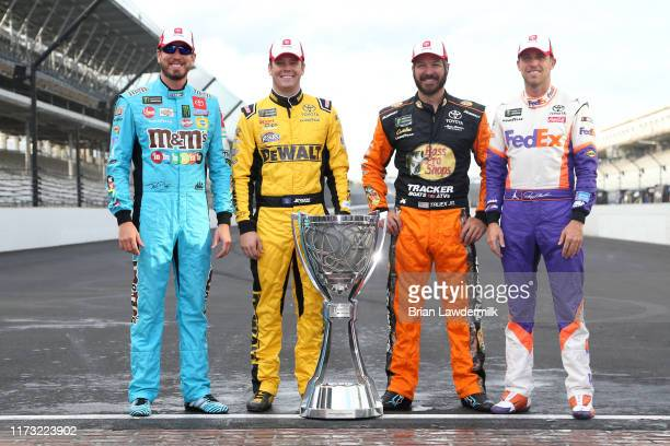 Kyle Busch driver of the MM's Toyota Erik Jones driver of the STANLEY Wish For Our Heros Toyota Denny Hamlin driver of the FedEx Express Toyota and...