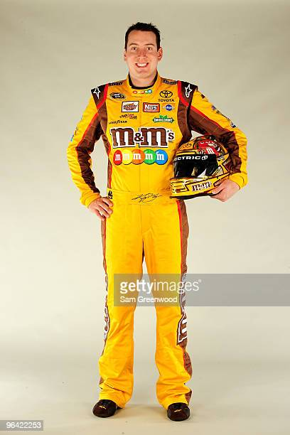Kyle Busch driver of the MM's Toyota poses during NASCAR media day at Daytona International Speedway on February 4 2010 in Daytona Beach Florida