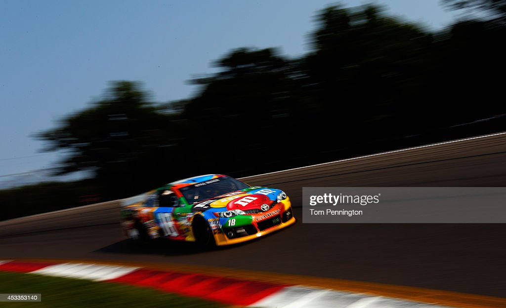 Kyle Busch, driver of the #18 M&M's Toyota, practices for the NASCAR Sprint Cup Series Cheez-It 355 at Watkins Glen International on August 8, 2014 in Watkins Glen, New York.