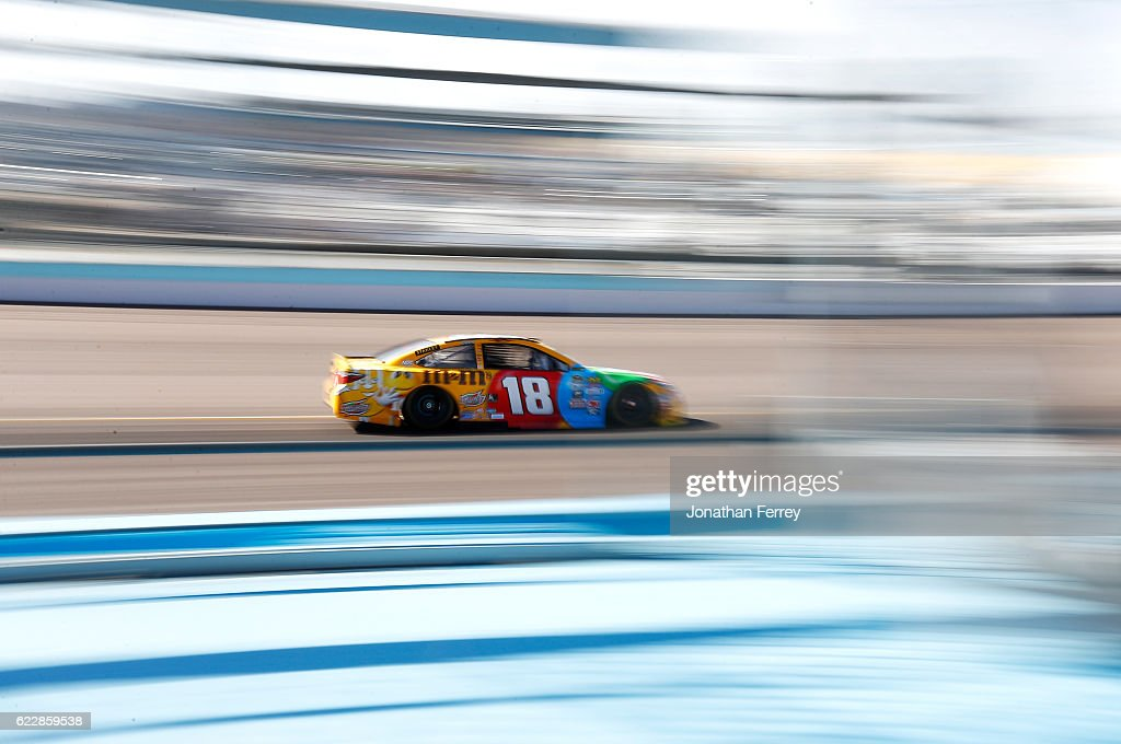 Kyle Busch, driver of the #18 M&M's Toyota, practices for the NASCAR Sprint Cup Series Can-Am 500 at Phoenix International Raceway on November 12, 2016 in Avondale, Arizona.