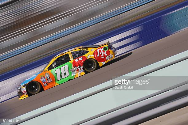 Kyle Busch driver of the MM's Toyota practices for the NASCAR Sprint Cup Series Ford EcoBoost 400 at HomesteadMiami Speedway on November 18 2016 in...