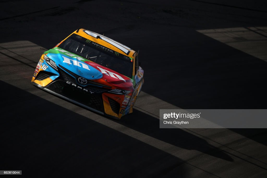Kyle Busch, driver of the #18 M&M's Toyota, races during the Monster Energy NASCAR Cup Series Kobalt 400 at Las Vegas Motor Speedway on March 12, 2017 in Las Vegas, Nevada.