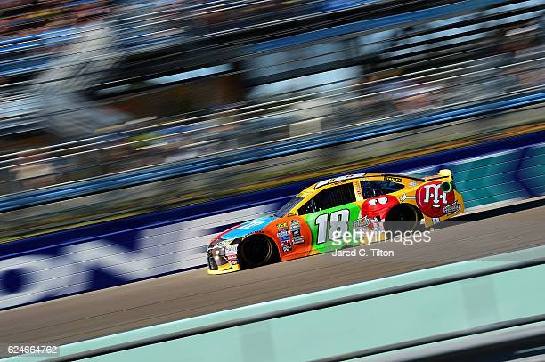 Kyle Busch driver of the MM's Toyota races during the NASCAR Sprint Cup Series Ford EcoBoost 400 at HomesteadMiami Speedway on November 20 2016 in...