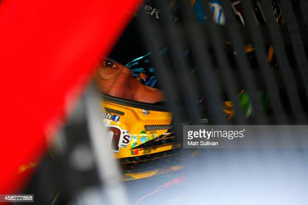 Kyle Busch, driver of the M&M's Toyota, sits in his car in the garage area during practice for the NASCAR Sprint Cup Series AAA Texas 500 at Texas...