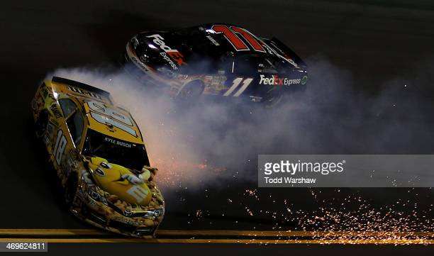 Kyle Busch, driver of the M&M's Toyota, spins during the NASCAR Sprint Cup Series Sprint Unlimited at Daytona International Speedway on February 15,...