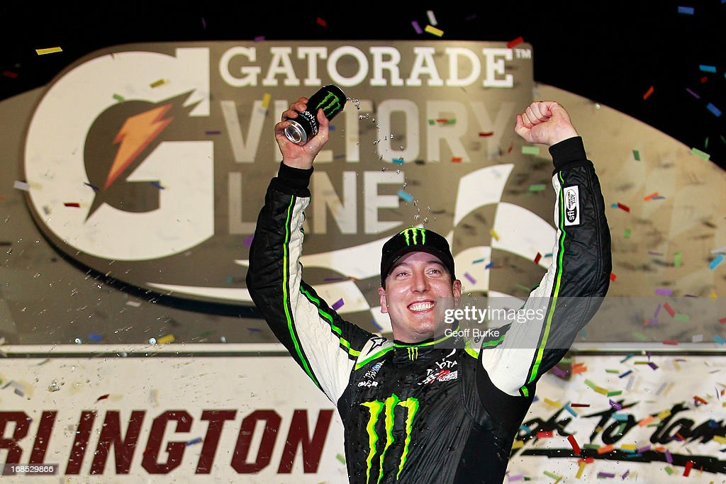 Kyle Busch, driver of the #54 Monster Energy Toyota, celebrates in victory lane after winning the NASCAR Nationwide Series VFW Sport Clips Help A Hero 200 at Darlington Raceway on May 10, 2013 in Darlington, South Carolina.