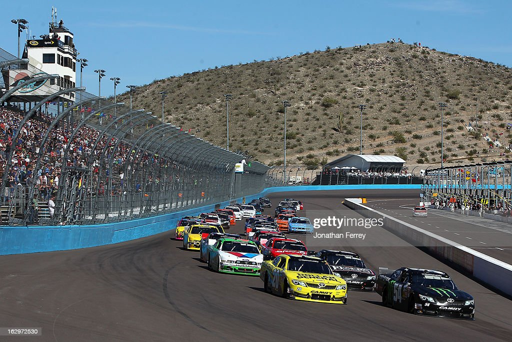 Kyle Busch, driver of the #54 Monster Toyota, leads the field during the NASCAR Nationwide Series Dollar General 200 fueled by AmeriGas at Phoenix International Raceway on March 2, 2013 in Avondale, Arizona.