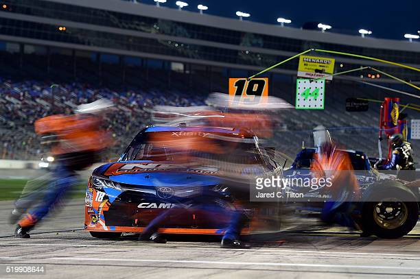 Kyle Busch driver of the NOS Energy Drink Toyota pits during the NASCAR XFINITY Series O'Reilly Auto Parts 300 at Texas Motor Speedway on April 8...