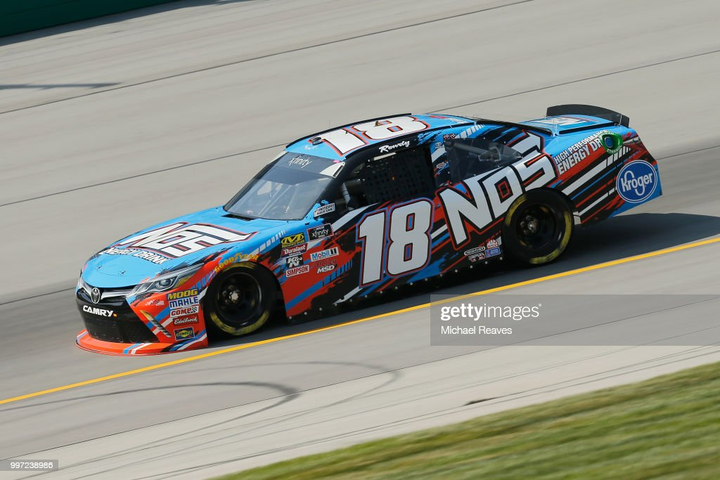 Kyle Busch, driver of the #18 NOS Energy Drink Toyota, practices for the NASCAR Xfinity Series Alsco 300 at Kentucky Speedway on July 12, 2018 in Sparta, Kentucky.