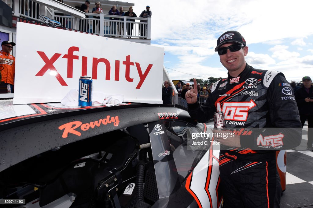 Kyle Busch, driver of the #18 NOS Rowdy Toyota, celebrates in Victory Lane after winning the NASCAR XFINITY Series Zippo 200 at The Glen at Watkins Glen International on August 5, 2017 in Watkins Glen, New York.