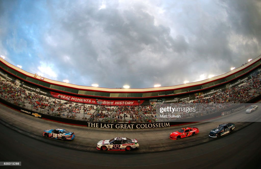 Kyle Busch, driver of the #18 NOS Rowdy Toyota, leads the field to start the NASCAR XFINITY Series Food City 300 at Bristol Motor Speedway on August 18, 2017 in Bristol, Tennessee.