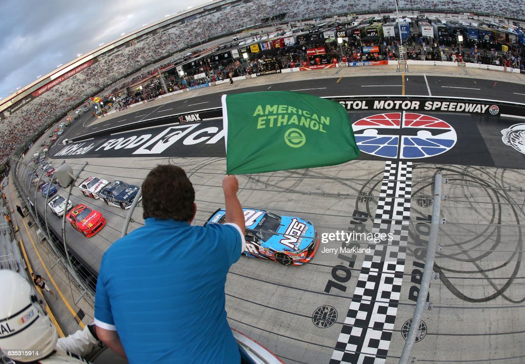 Kyle Busch, driver of the #18 NOS Rowdy Toyota, takes the green flag to start the NASCAR XFINITY Series Food City 300 at Bristol Motor Speedway on August 18, 2017 in Bristol, Tennessee.