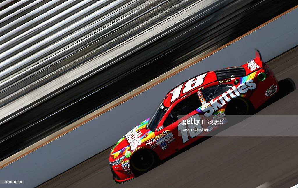Kyle Busch, driver of the #18 Skittles Toyota, practices for the NASCAR Sprint Cup Series Crown Royal Presents the Jeff Kyle 400 at the Brickyard at Indianapolis Motorspeedway on July 24, 2015 in Indianapolis, Indiana.