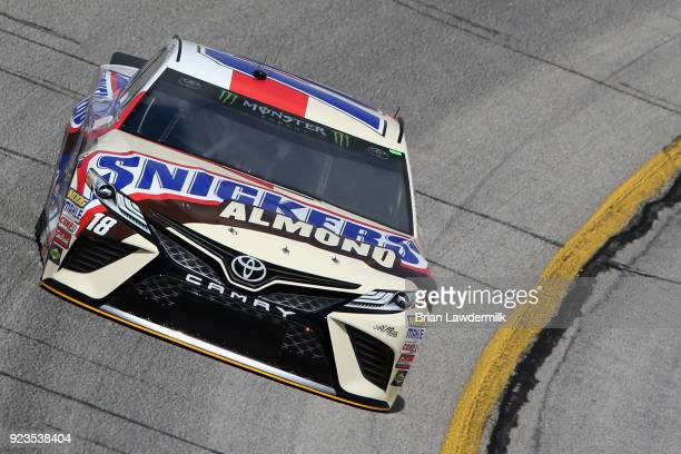 Kyle Busch driver of the Snickers Almond Toyota practices for the Monster Energy NASCAR Cup Series Folds of Honor QuikTrip 500 at Atlanta Motor...