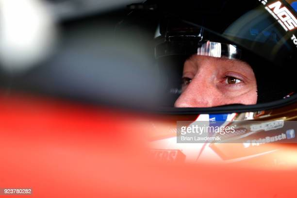 Kyle Busch driver of the Snickers Almond Toyota sits in his car during practice for the Monster Energy NASCAR Cup Series Folds of Honor QuikTrip 500...
