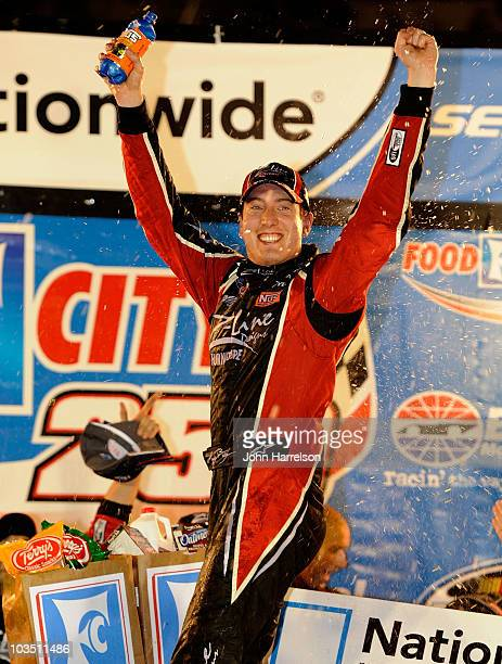 Kyle Busch driver of the ZLine Designs Toyota celebrates in victory lane after winning the NASCAR Nationwide Series Food City 250 at Bristol Motor...