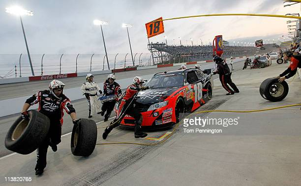 Kyle Busch driver of the ZLine Designs Toyota pulls away from a pit stop during the NASCAR Nationwide Series Royal Purple 200 at Darlington Raceway...