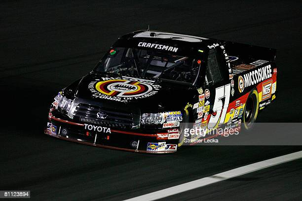 Kyle Busch drives the Miccosukee Resorts/NOS Energy Drink Toyota during the NASCAR Craftsman Truck Series North Carolina Education Lottery 200 on May...