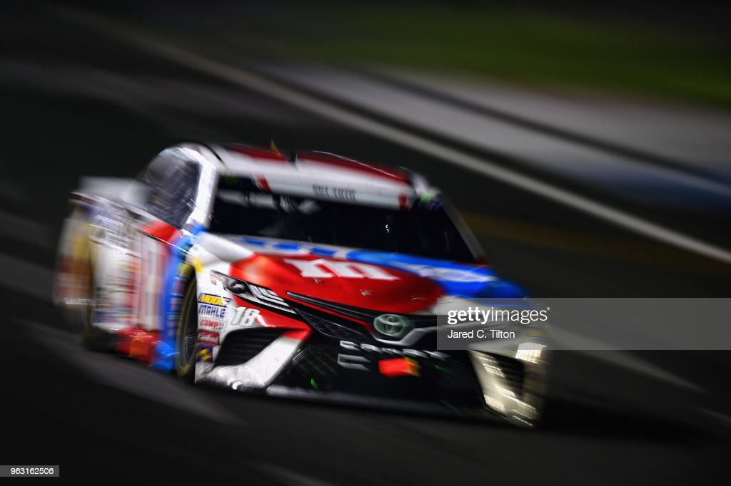 Kyle Busch drives the #18 M&M's Red White & Blue Toyota during the Monster Energy NASCAR Cup Series Coca-Cola 600 at Charlotte Motor Speedway on May 27, 2018 in Charlotte, North Carolina.