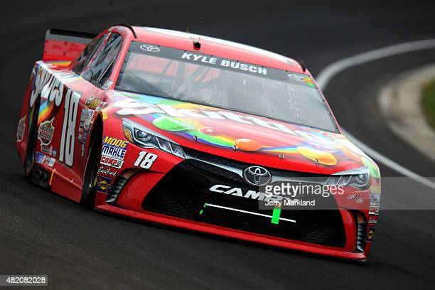 Kyle Busch drives the Skittles Toyota during the NASCAR Sprint Cup Series Crown Royal Presents the Jeff Kyle 400 at the Brickyard at Indianapolis...