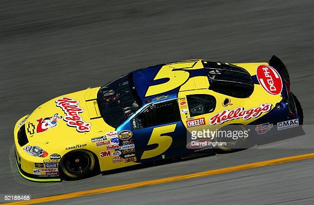 Kyle Busch driving the Hendrick Motorsports Kelloggs Chevrolet during practice for the NASCAR Nextel Cup Daytona 500 on February 12 2005 at the...