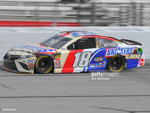 Kyle Busch Joe Gibbs Racing Snicker's Almond Toyota Camry during practice for the Monster Energy Cup Series Folds of Honor Quiktrip 500 on February...