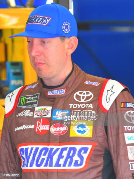Kyle Busch Joe Gibbs Racing Snicker's Almond Toyota Camry prepares to practice for the Monster Energy Cup Series Folds of Honor Quiktrip 500 on...
